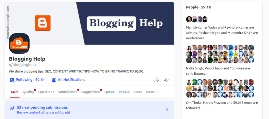 Blogging Help Quora Space with +50k followers